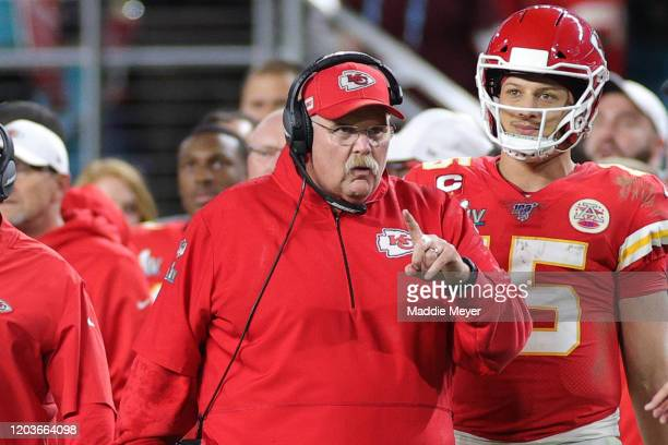 Head coach Andy Reid of the Kansas City Chiefs reacts against the San Francisco 49ers during the fourth quarter in Super Bowl LIV at Hard Rock...