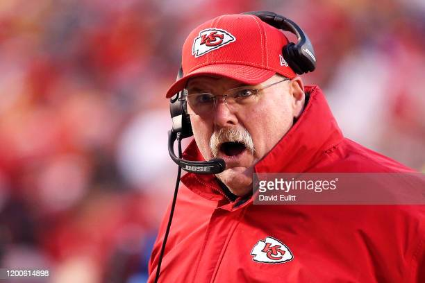 Head coach Andy Reid of the Kansas City Chiefs reacts late in the second half against the Tennessee Titans in the AFC Championship Game at Arrowhead...
