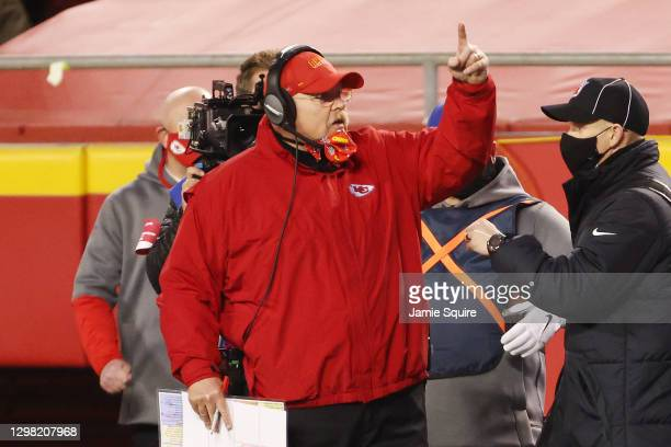 Head coach Andy Reid of the Kansas City Chiefs reacts on the sideline in the first half against the Buffalo Bills during the AFC Championship game at...
