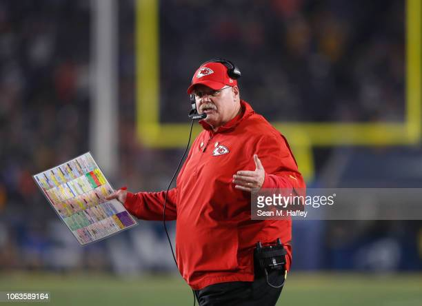 Head coach Andy Reid of the Kansas City Chiefs reacts to a referee decision during the second quarter of the game against the Los Angeles Rams at Los...