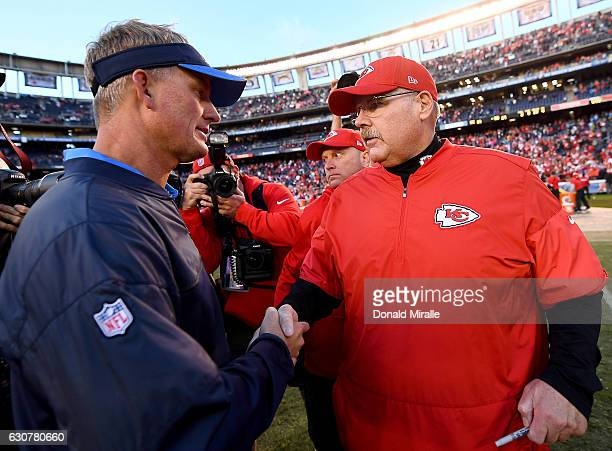 Head Coach Andy Reid of the Kansas City Chiefs shakes the hand of Head Coach Mike McCoy of the San Diego Chargers after their NFL game at Qualcomm...