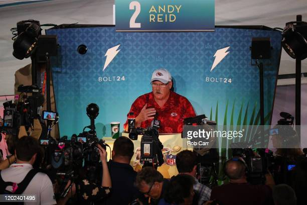 Head coach Andy Reid of the Kansas City Chiefs speaks to the media during Super Bowl Opening Night presented by BOLT24 at Marlins Park on January 27...