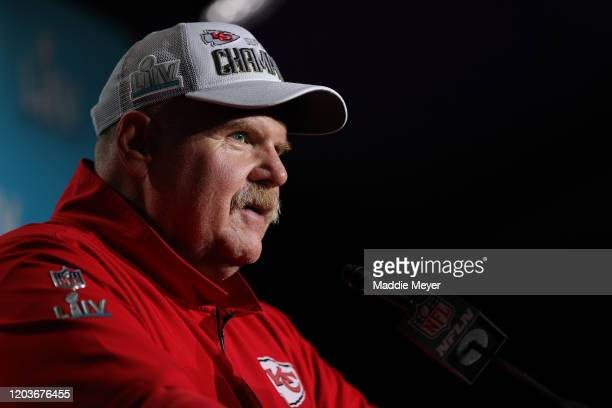 Head coach Andy Reid of the Kansas City Chiefs talks to press after defeating San Francisco 49ers by 31 - 20 in Super Bowl LIV at Hard Rock Stadium...