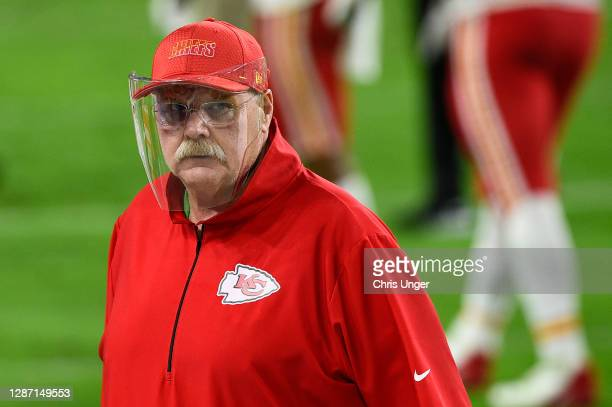 Head coach Andy Reid of the Kansas City Chiefs walks off the field after defeating the Las Vegas Raiders 35-31 at Allegiant Stadium on November 22,...