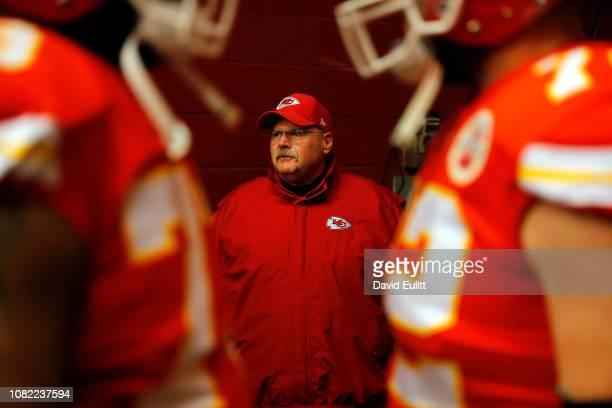 Head coach Andy Reid of the Kansas City Chiefs walks out of the tunnel prior to the game against the Los Angeles Chargers at Arrowhead Stadium on...