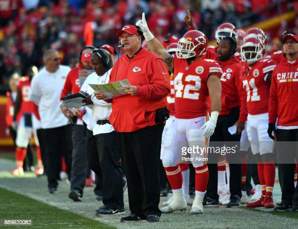 Head coach Andy Reid of the Kansas City Chiefs watches from the sidelines during the game against the Kansas City Chiefs at Arrowhead Stadium on...