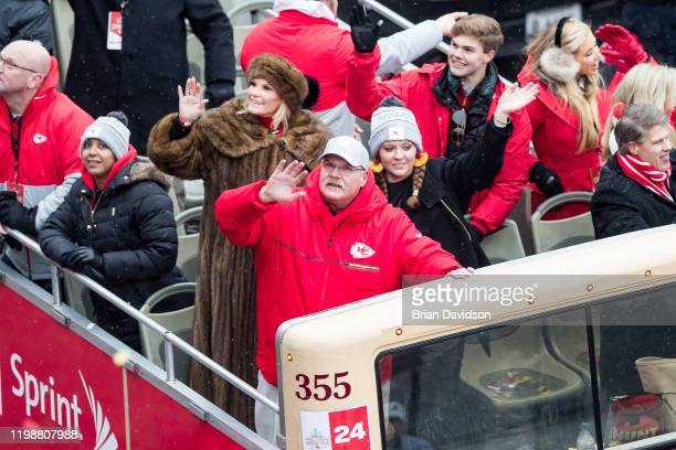 Head coach Andy Reid of the Kansas City Chiefs waves to the crowd during the Kansas City Super Bowl Parade on February 5 2020 in Kansas City Missouri
