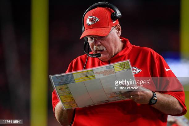 Head coach Andy Reid of the Kansas City Chiefs works along the sideline in the second quarter against the Denver Broncos at Empower Field at Mile...