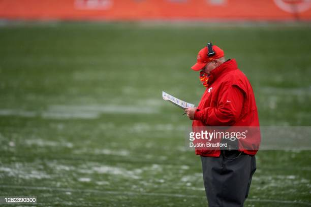 Head coach Andy Reid of the Kansas City Chiefs works on the sideline during a game against the Denver Broncos at Empower Field at Mile High on...