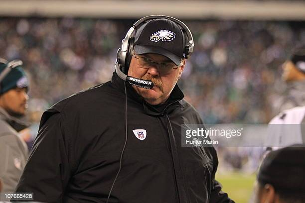 Head coach Andy Reid of the Philadelphia Eagles coaches on the sideline during a game against the Houston Texans at Lincoln Financial Field on...