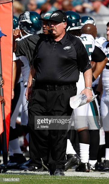 Head coach Andy Reid of the Philadelphia Eagles directs his team against the Tampa Bay Buccaneers during the game at Raymond James Stadium on...
