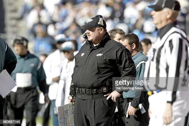 Head coach Andy Reid of the Philadelphia Eagles looks on during a game against the Carolina Panthers on November 30 2003 at Ericsson Stadium in...