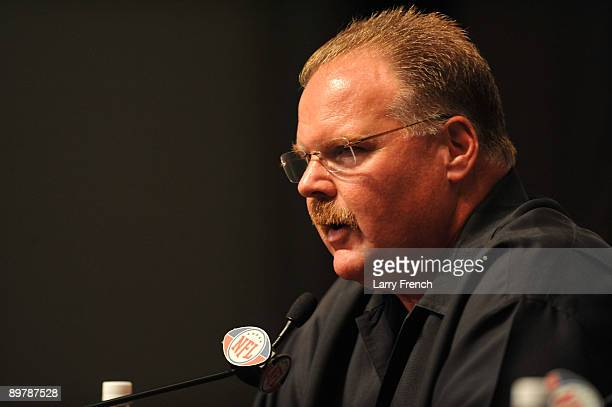 Head coach Andy Reid of the Philadelphia Eagles speaks at a press conference introducing Michael Vick at the NovaCare Complex on August 14 2009 in...
