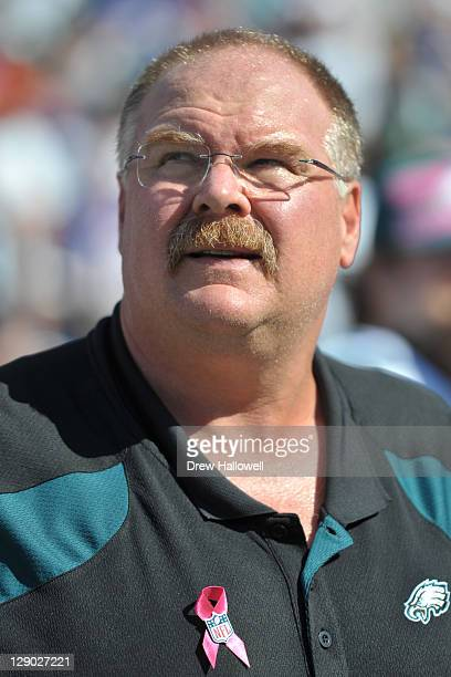 Head coach Andy Reid of the Philadelphia Eagles stands on the sideline before the game against the Buffalo Bills at Ralph Wilson Stadium on October 9...