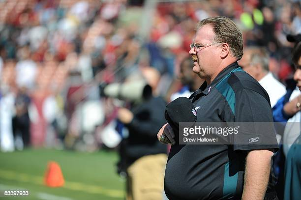 Head coach Andy Reid of the Philadelphia Eagles stands on the sideline during the game against the San Francisco 49ers on October 12 2008 at...
