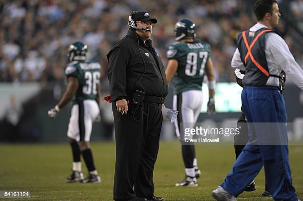 Head coach Andy Reid of the Philadelphia Eagles stands on the sideline during the game against the Dallas Cowboys on December 28 2008 at Lincoln...