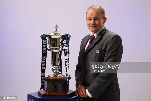 Head Coach Andy Robinson of Scotland poses with the RBS Six Nations Trophy during the RBS Six Nations Launch at The Hurlingham Club on January 25...