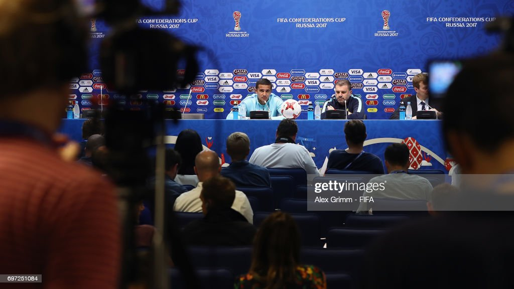 Head coach Ange Postecoglou and Tim Cahill attend an Australia press conference during the FIFA Confederations Cup Russia 2017 at Fisht stadium on June 18, 2017 in Sochi, Russia.