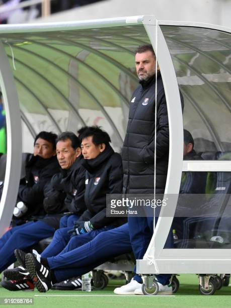 Head coach Ange Postecoglou of Yokohama FMarinos looks on during the preseason friendly match between FC Tokyo and Yokohama FMarinos at Ajinomoto...