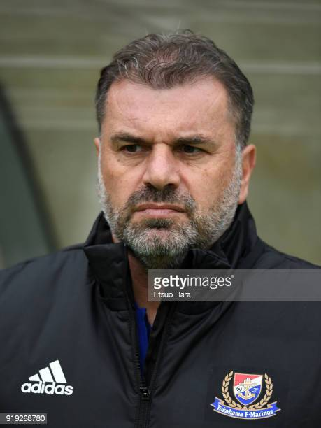 Head coach Ange Postecoglou of Yokohama FMarinos looks on prior to the preseason friendly match between FC Tokyo and Yokohama FMarinos at Ajinomoto...