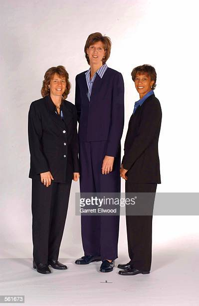 Head Coach Anne Donovan of the Charlotte Sting poses with assistant coaches Cheryl Reeve and Yrudi Lacey during WNBA media day at the Charlotte...