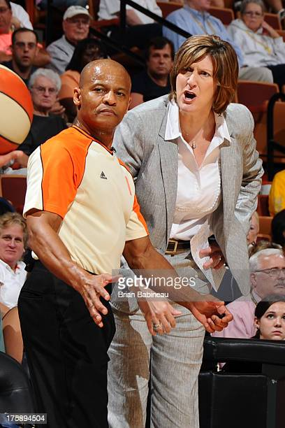 Head coach Anne Donovan of the Connecticut Sun has words with the referee during the game against the Chicago Sky on August 9 2013 at the Mohegan Sun...