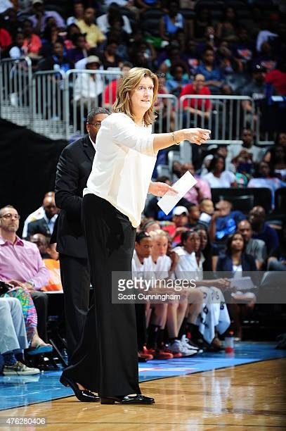 Head coach Anne Donovan of the Connecticut Sun looks on during the game against the Atlanta Dream on June 7 2015 at Philips Arena in Atlanta Georgia...