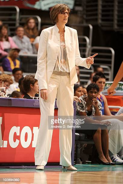 Head coach Anne Donovan of the New York Liberty directs her team against the Los Angeles Sparks during the WNBA game at Staples Center on June 29...