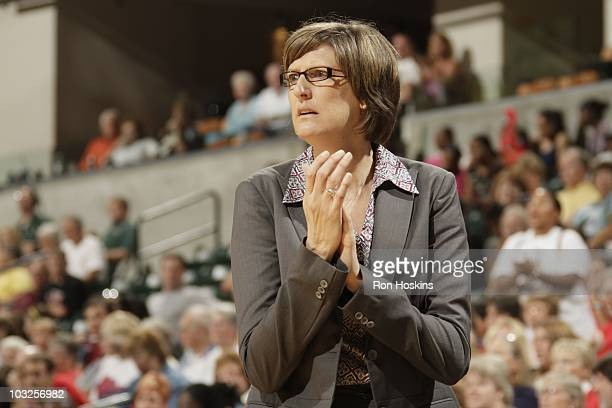 Head coach Anne Donovan of the New York Liberty is seen during the game against the Indiana Fever at Conseco Fieldhouse on August 3 2010 in...