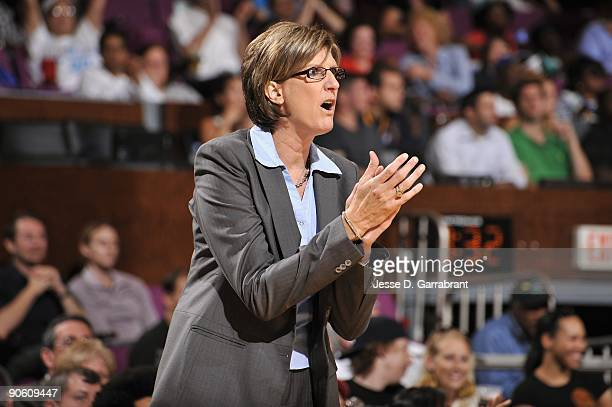 Head coach Anne Donovan of the New York Liberty looks on from the sideline during the game against the Seattle Storm on September 1 2009 at Madison...