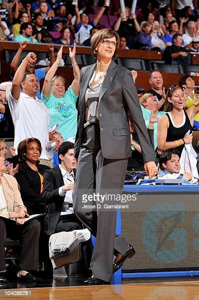 Head coach Anne Donovan of the New York Liberty reacts in Game One of the Eastern Conference Semifinals against the Indiana Fever during the 2010...