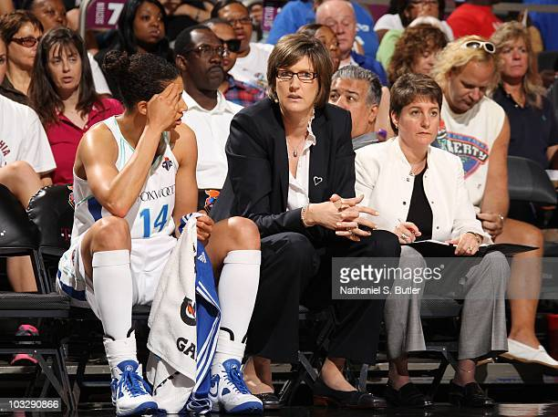 Head coach Anne Donovan of the New York Liberty talks with Nicole Powell during a WNBA game against the Los Angeles Sparks on July 30 2010 at Madison...