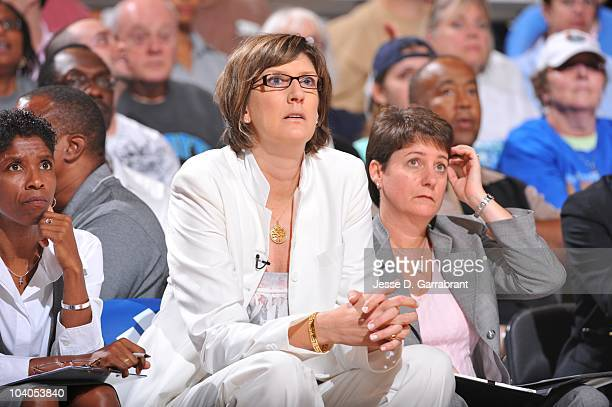 Head coach Anne Donovan of the New York Liberty watches during Game Three of the 2010 WNBA Eastern Conference Semifinals against the Indiana Fever on...