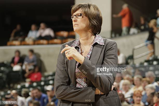 Head coach Anne Donovan of the New York Liberty watches during the game against the Indiana Fever at Conseco Fieldhouse on August 3 2010 in...