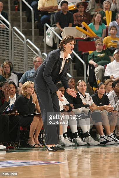 Head coach Anne Donovan of the Seattle Storm shouts instructions from the sidelines in Game three of the WNBA Finals against the Connecticut Sun at...