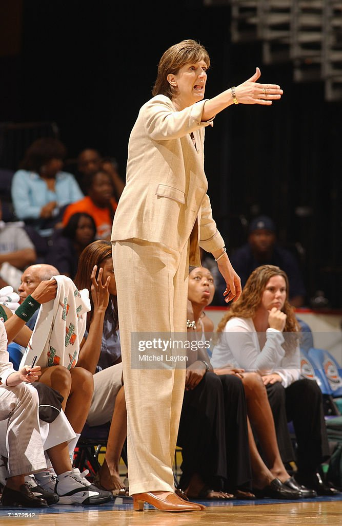 Head coach Anne Donovan of the Seattle Storm shouts instructions from the sidelines during a game against the Washington Mystics at MCI Center on July 23, 2006 in Washington, D.C. The Storm won 73-71.