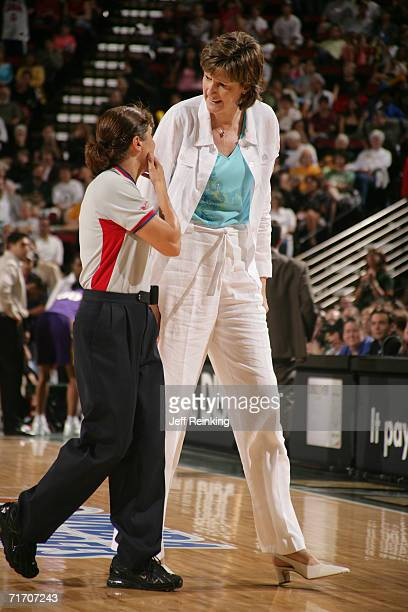 Head coach Anne Donovan of the Seattle Storm speaks with a referee before game action against the Los Angeles Sparks during game one of the first...