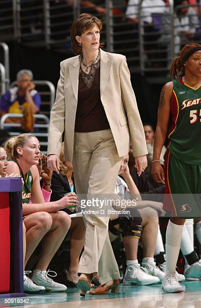 Head coach Anne Donovan of the Seattle Storm walks during the game against Los Angeles Sparks at the Staples Center on June 1 2004 in Los Angeles...