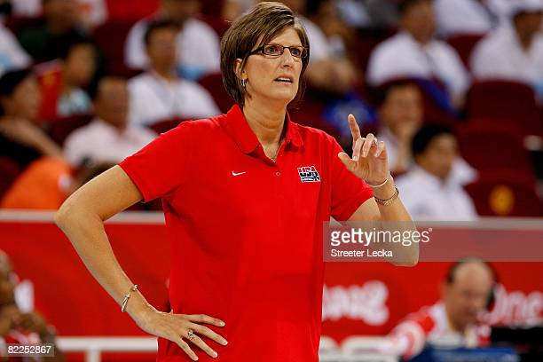 Head coach Anne Donovan of the United States coaches against China during their women's basketball preliminary game on Day 3 of the Beijing 2008...