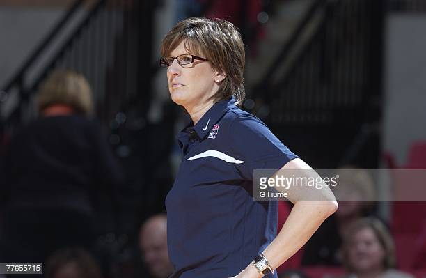Head Coach Anne Donovan of the United States National Team watches the game against the Maryland Terrapins October 31 2007 at Comcast Center in...