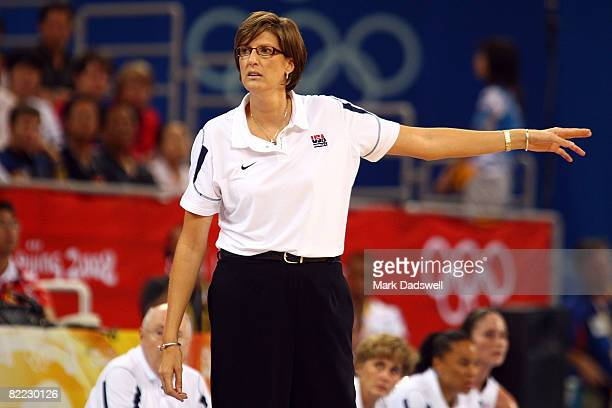 Head coach Anne Donovan of the United States points while taking on the Czech Republic during the women's preliminary basketball game at the Beijing...