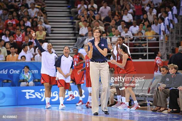 Head Coach Anne Donovan of the US Women's Senior National Team cheers against Russia during the women's semifinals basketball game at the 2008...