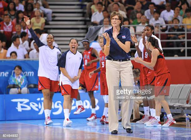 Head Coach Anne Donovan of the U.S. Women's Senior National Team coaches against Russia during the women's semifinals basketball game at the 2008...