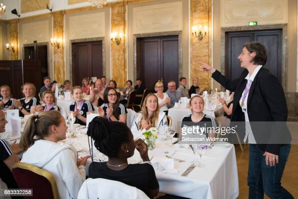 Head coach Anouschka Bernhard is gesturing to her team at the European Champion reception of the German U17 Women's team at Le Meridien Grand Hotel...