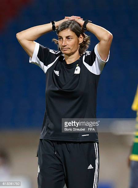 AZ ZARQA' JORDAN OCTOBER 07 Head coach Anouschka Bernhard of Germany gestures during the FIFA U17 Women's World Cup Group B match between Germany and...