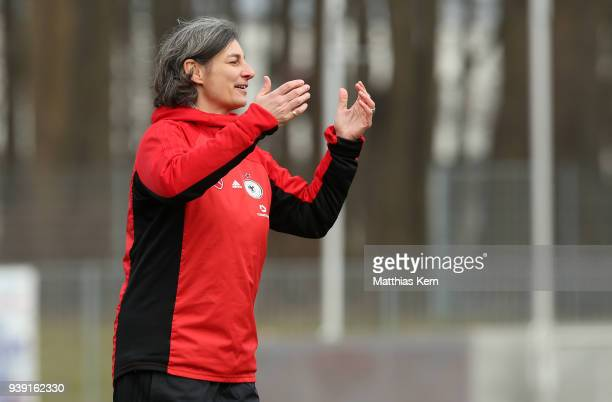 Head coach Anouschka Bernhard of Germany gestures during the UEFA U17 Girl's European Championship Qualifier match between Germany and Ireland at...