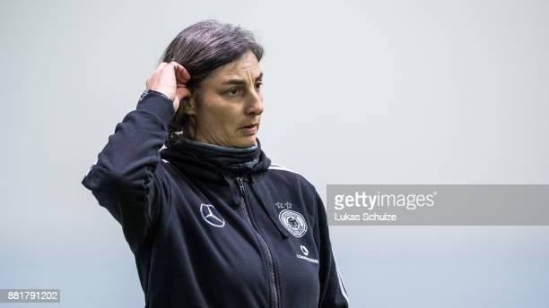 Head Coach Anouschka Bernhard of Germany is seen during the U17 Girls friendly match between Finland and Germany at the Eerikkila Sport Outdoor...