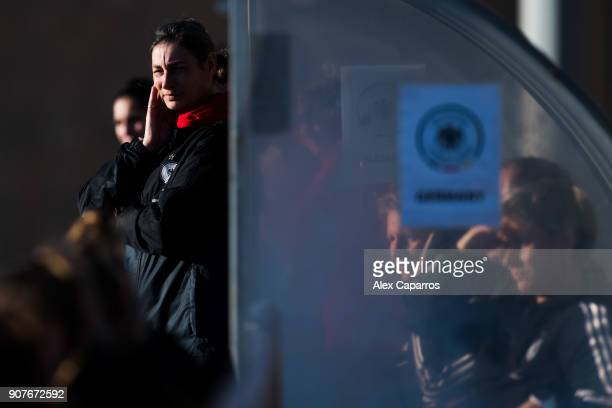 Head Coach Anouschka Bernhard of Germany looks on during the U17 girl's international friendly match between Germany and France on January 20 2018 in...