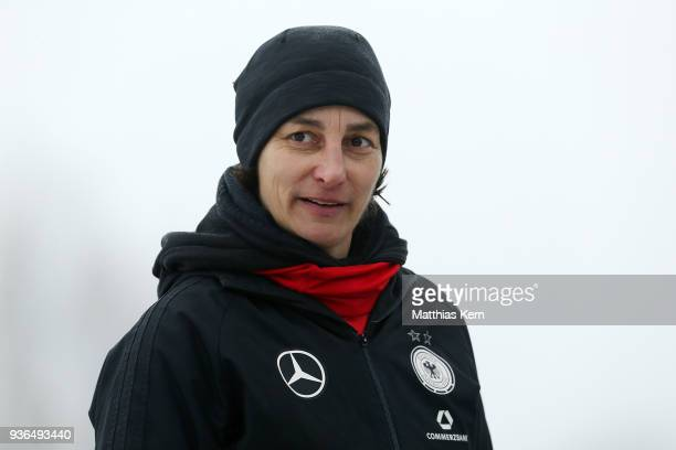 Head coach Anouschka Bernhard of Germany looks on during the UEFA U17 Girl's European Championship Qualifier match between Germany and Azerbaijan at...