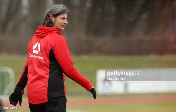 Head coach Anouschka Bernhard of Germany looks on during the UEFA U17 Girl's European Championship Qualifier match between Germany and Ireland at...